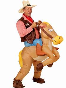 Man's Cowboy Costume with Inflatable Horse