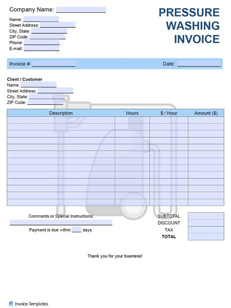 pressure washing invoice template  word excel