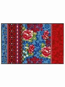 tapis d39entree en nylon imprime fleuri original helline With tapis d entrée original