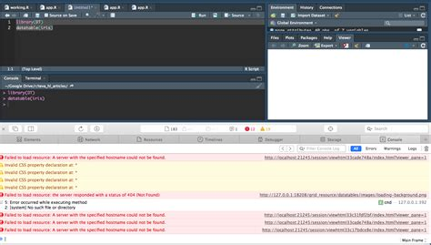 dt an r interface to the datatables library rstudio r dt datatable iris gives error in console quot failed to