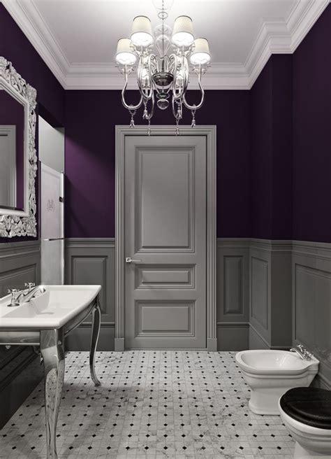 black white purple bathroom bathroom decor ideas purple paint and chandelier the 17440