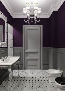bathroom decor ideas purple paint and chandelier the With dark purple bathrooms