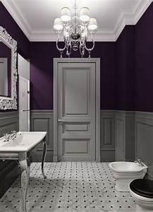 Bathroom decor ideas purple paint and chandelier the for Dark purple bathrooms