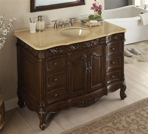 bathroom vanity traditional style dark brown color