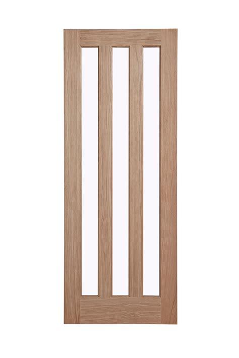 Living Room Doors At B Q by Vertical 3 Panel Oak Veneer Glazed Door H 1981