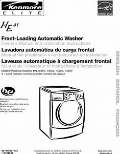 Kenmore Elite 11045081400 User Manual Residential Washer