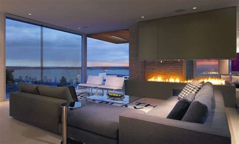 living room   view   ocean    fire