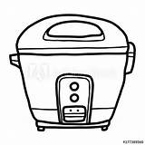 Cooker Rice Cartoon Sketch Drawn Isolated Comp Contents Similar sketch template