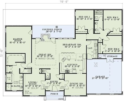 Home Design 4 Rooms : Ranch House Plans 4 Bedrooms