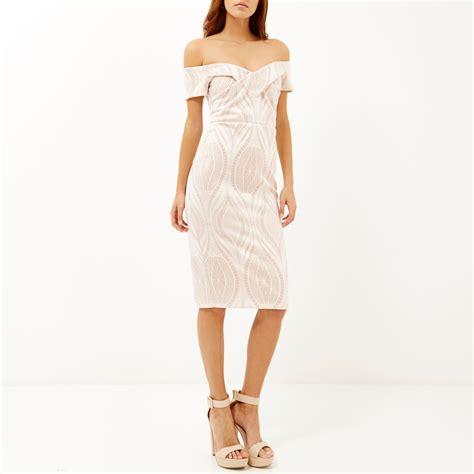 light pink midi dress river island light pink lace bardot bodycon midi dress in