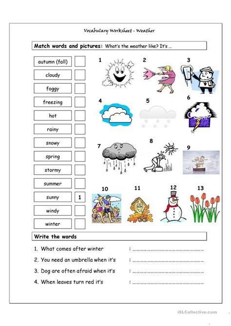 vocabulary matching worksheet weather worksheet free