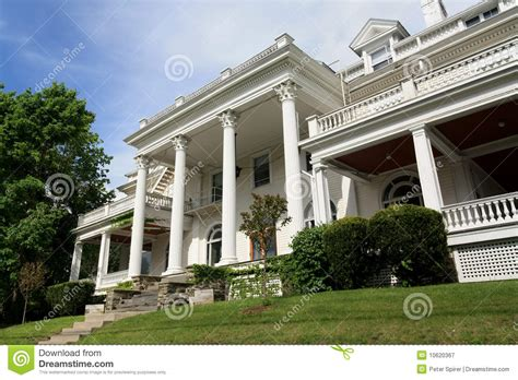 large white mansion  columns editorial photography image