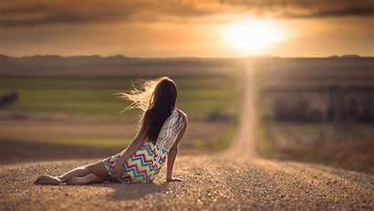 Barefoot Soles Feet Road Sitting Outdoors Nebraska