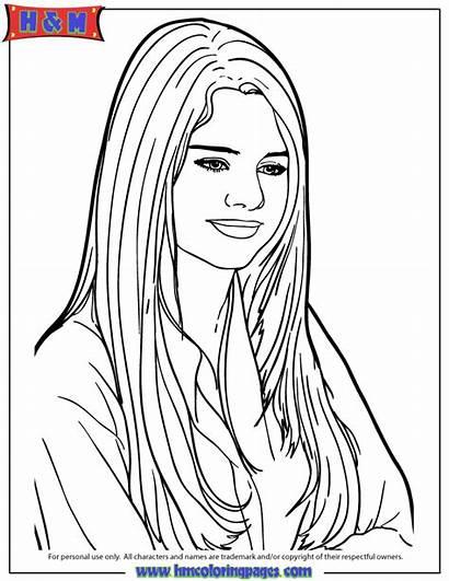 Coloring Selena Pages Gomez Printable Drawing Cartoon