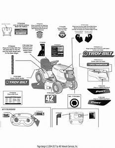 Troy Bilt 13an77kg011 Pony  2009  Parts Diagram For Label Map