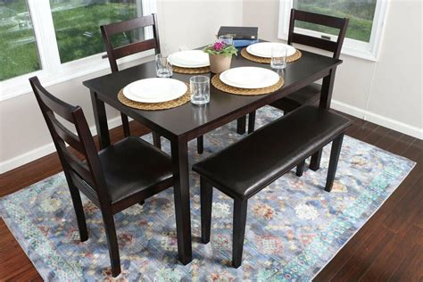 pc espresso dining table set dinette chairs bench kitchen