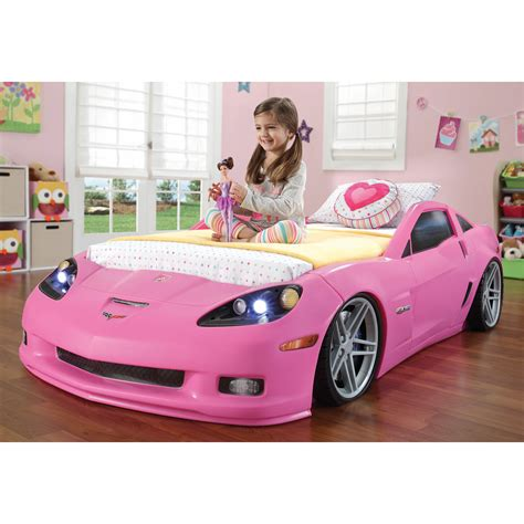 Corvette Car Bed - step2 convertible toddler to pink corvette bed with