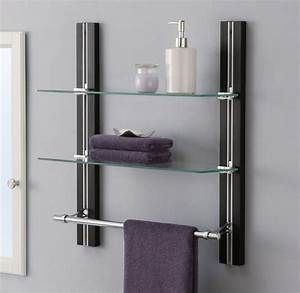 bathroom shelf organizer glass towel rack bar wall mounted With bathroom towel racks and shelves