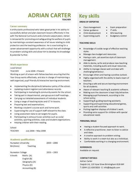 Curriculum Vitae For Teachers Template by Cv Template Lessons Pupils Teaching School