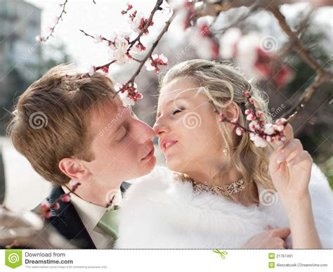 Newly Wedded Couple Outdoors Stock Image