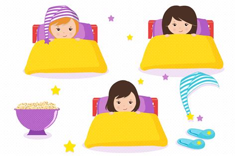 Sleepover Clipart Sleepover Graphics Clipart Set