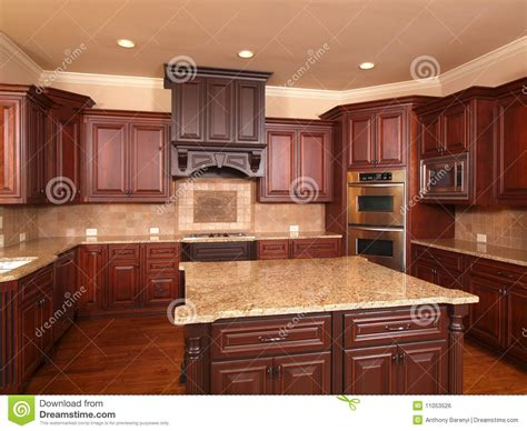 Cabinets For Home Office: Luxury Home Kitchen Front Center Island Stock Photo