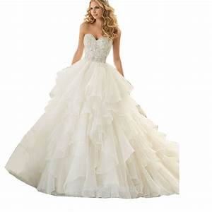 bling bling crystal beaded sweetheart organza ruffles With white beaded wedding dress