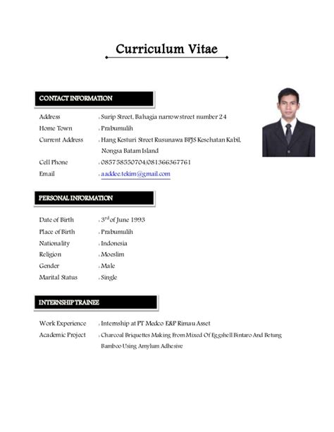 Writing A Curriculum Vitae For Internship by Cv Updated