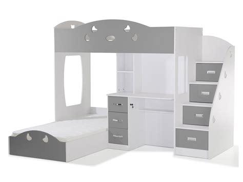 lit superpose escalier avec rangement lit superpos 233 avec rangements et bureau 90x190cm combal gris blanc
