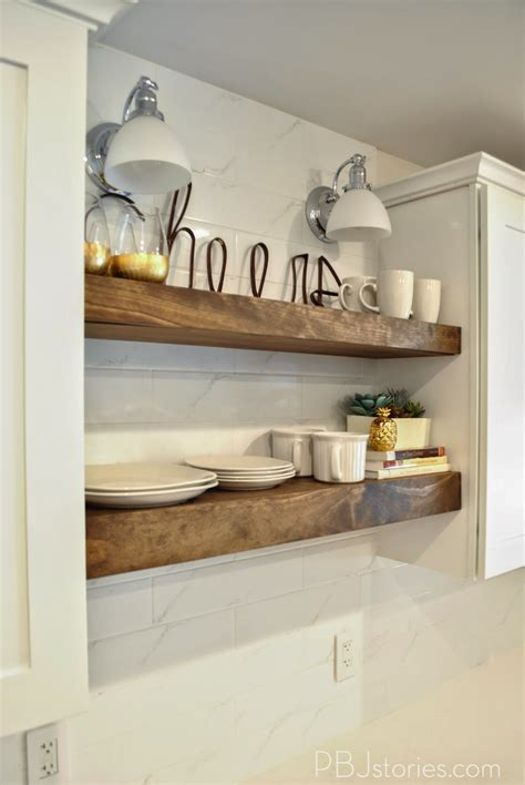 Pbjstories Our Diy Open Kitchen Shelves #pbjreno