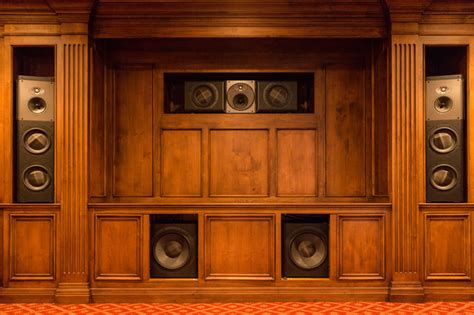 Home Theater Cabinets by Wood Cabinet Theater Speakers Traditional Home Theater