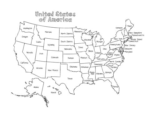 united states coloring page  state names coloring pages
