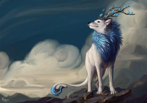 wallpaper fantasy wolf smiling horns clouds tail
