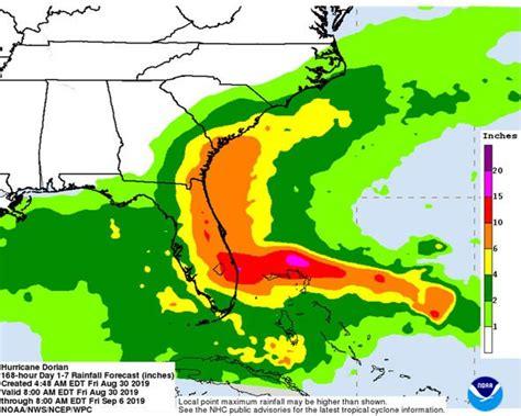 hurricane dorian rain radar  rainfall map  inches