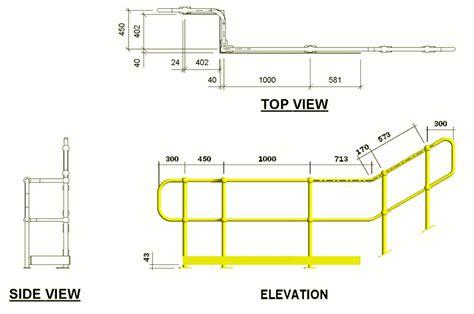 standard handrail height standard handrail drawings