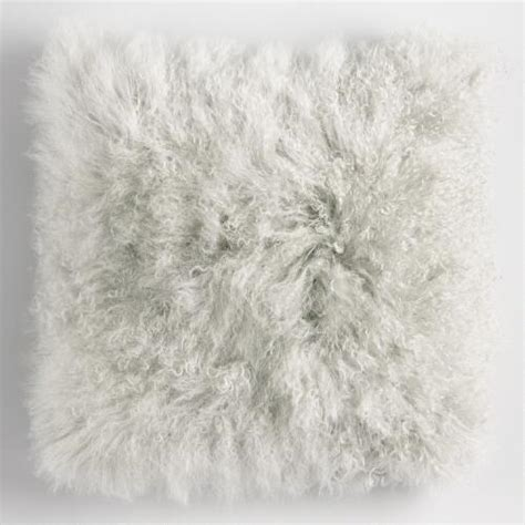 gray fur pillow gray mongolian fur throw pillow world market