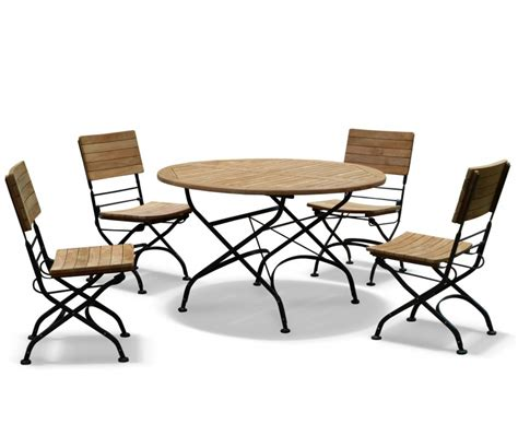 bistro table and 4 chairs bistro round 1 2m table 4 chairs teak metal folding