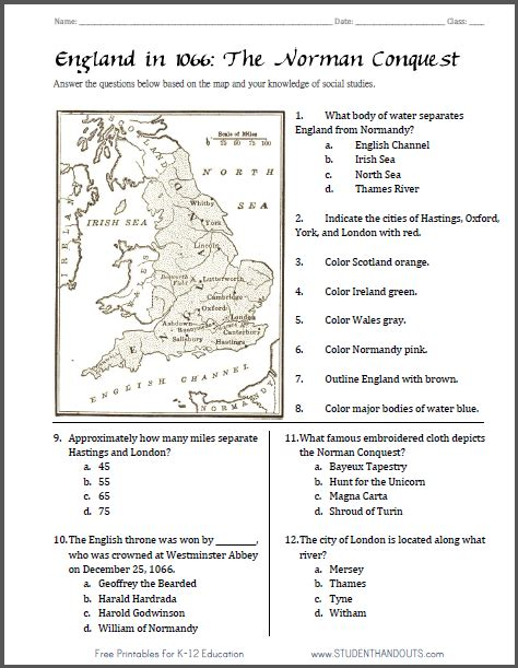 norman conquest england 1066 map worksheet free to print pdf file includes 12 tasks and