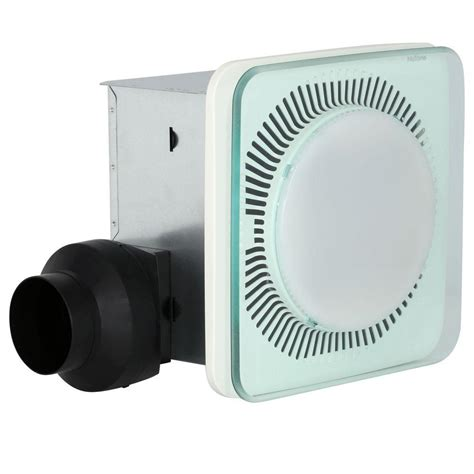 shower exhaust fan with light nutone lunaura square panel decorative white 110 cfm