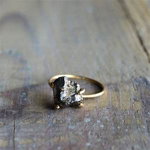 meteorite ring gold filled prong ring shooting star With meteor rock wedding rings