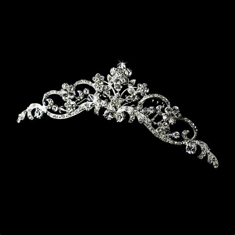 Wedding Tiaras by Bridal Wedding Hair Tiara Comb With Floral Design