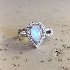 Pear Shape Engagement Ring Moonstone Engagement Ring Rainbow