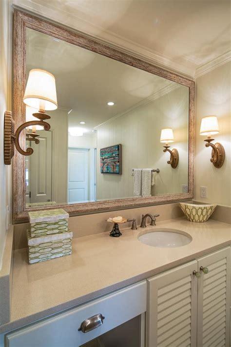 coastal master bathroom  wood framed mirror hgtv