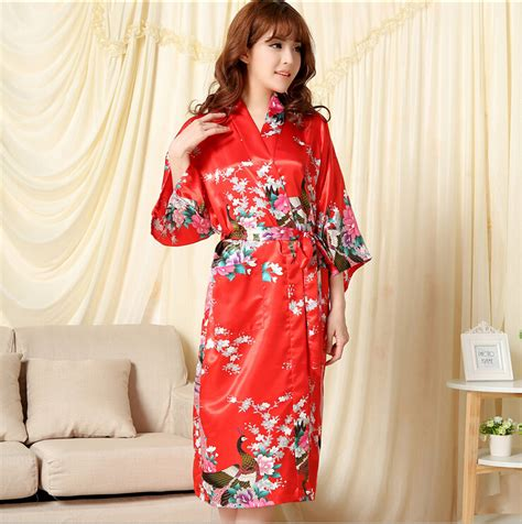 robe de chambre femme satin shipping pajamas nightgown summer solid