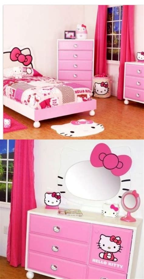kitty bed bedroom set pink twin room youth girls princess headboard child  lilly