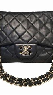 RARE Chanel Quilted Black Leather Gem Logo Closure Classic ...