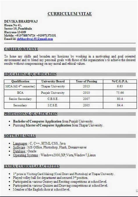 bcom resume format free resume bcom fresher