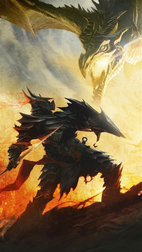 Dragon Born In Daedric Armor Fighting A Dragon Elder