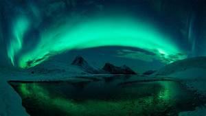 Aurora, Borealis, Mountain, With, Reflection, On, Lake, During