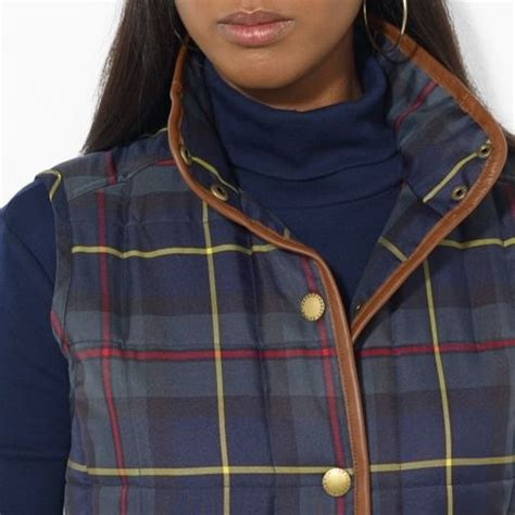 by ralph leathertrimmed plaid vest in blue green lyst
